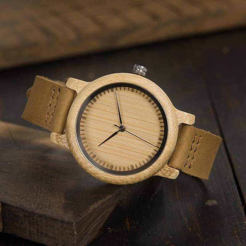 BOBO BIRD WA15L19 Women Watches Bamboo Wooden Watch Real Leather