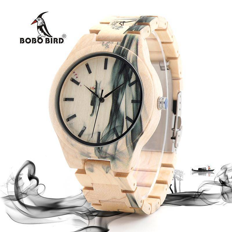 BOBO BIRD WO17 Maple Wood Watch for Men Pine Band