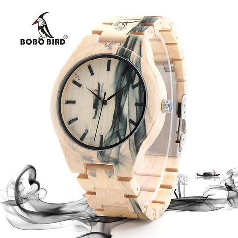Image of BOBO BIRD WO17 Maple Wood Watch for Men Pine Band