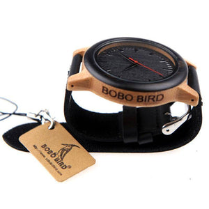 Wenge Leather Band Wooden Watch