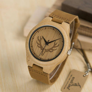Deer Head Design Buck Bamboo Wooden Watch