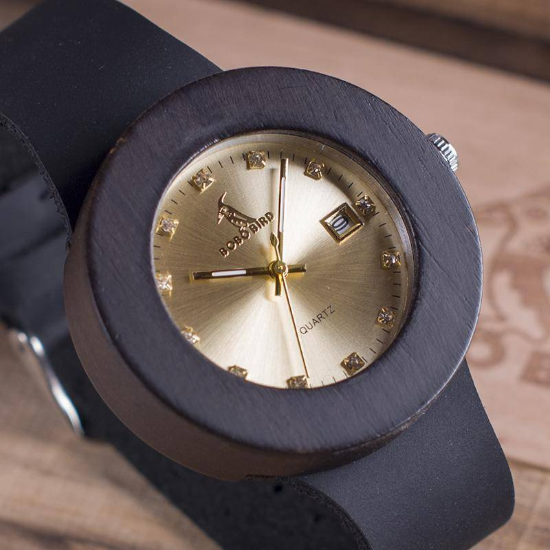 Ebony Wooden Watch with Genuine Leather