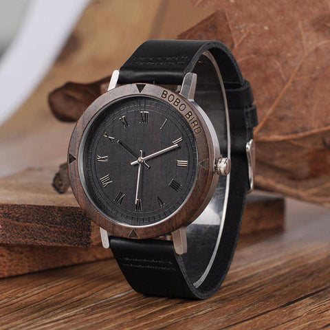 Image of BOBO BIRD WK05 Mens Rome Number Dial Face Soft Leather Watch