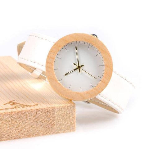 Image of BOBO BIRD WJ28 Pine Wooden Steel Simple Dial Face Watch