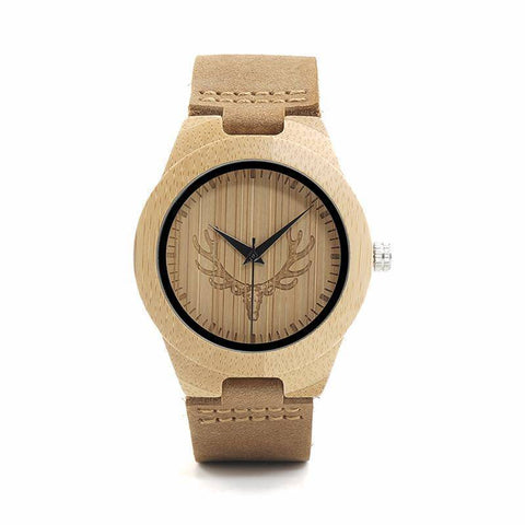 Image of Deer Head Design Buck Bamboo Wooden Watch