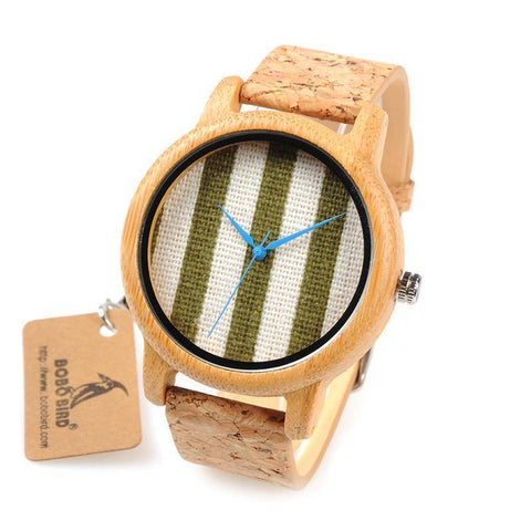 Image of BOBO BIRD WA29 Wooden Watch Blue Indexes White Green