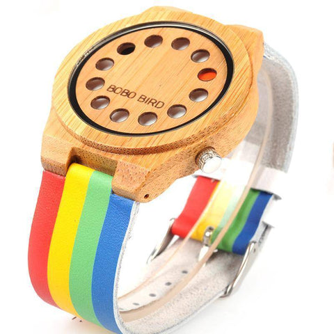 Image of Bamboo Wooden Watch Colorful Leather Band