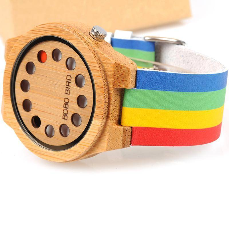 Bamboo Wooden Watch Colorful Leather Band