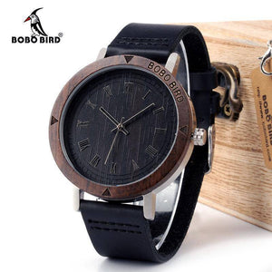 BOBO BIRD WK05 Mens Rome Number Dial Face Soft Leather Watch
