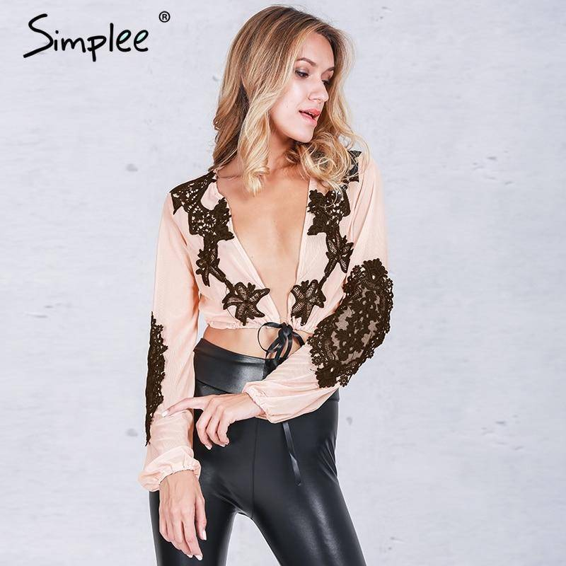 Simplee Apparel Deep V Lace Blouse | Mesh Long Sexy Party Ethnic Blouse