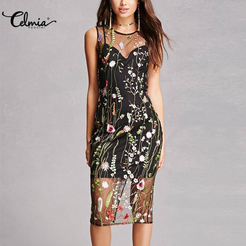 Celmia Embroidery Runway Dress