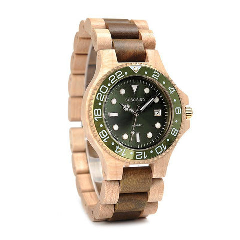 Image of BOBO BIRD WO25 Sparkling Dial Face Wooden Quartz Watch