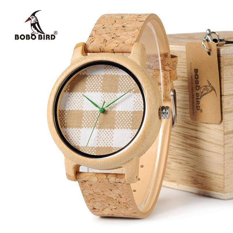 Vintage Round Ladies Bamboo Wood Quartz Watches