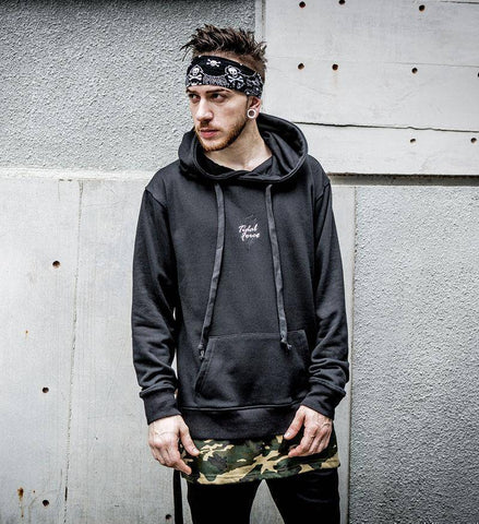 Image of Side Ribbon Ripped Camouflage Patchwork Hoodies