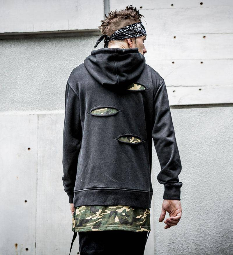 Side Ribbon Ripped Camouflage Patchwork Hoodies