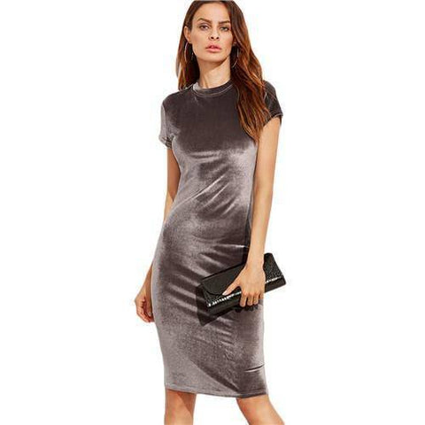 Shein Brown Velvet Sheath Dress