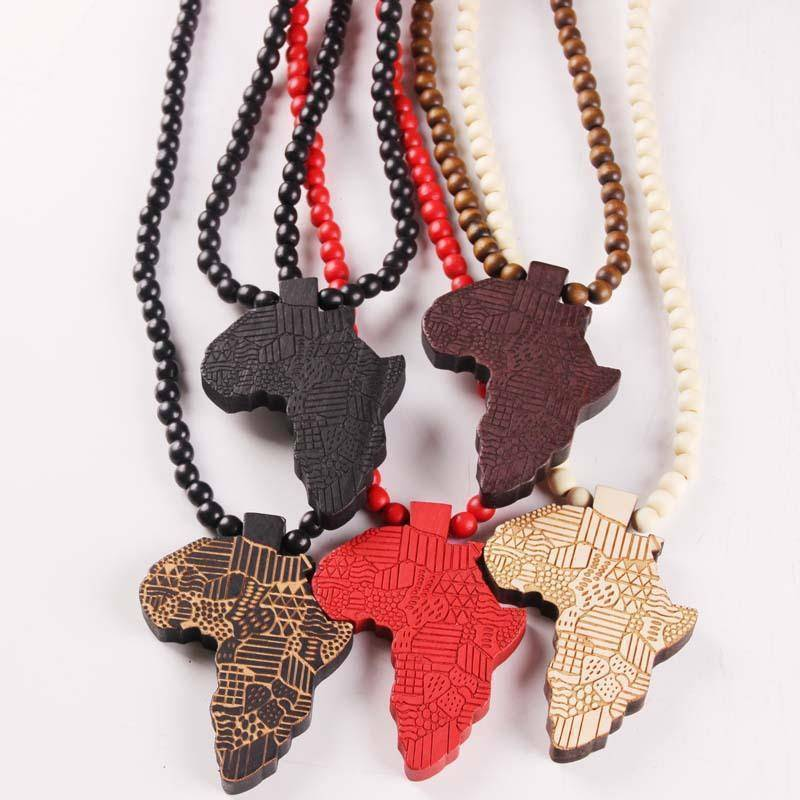 Africa Map Wooden Pendant