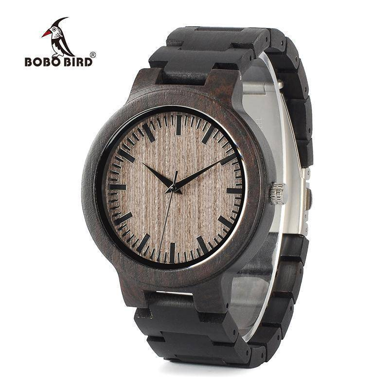 BOBO BIRD WC30 Mens Full Ebony Wooden Quartz Watches