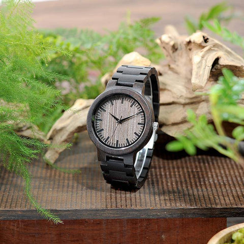 Image of BOBO BIRD WC30 Mens Full Ebony Wooden Quartz Watches