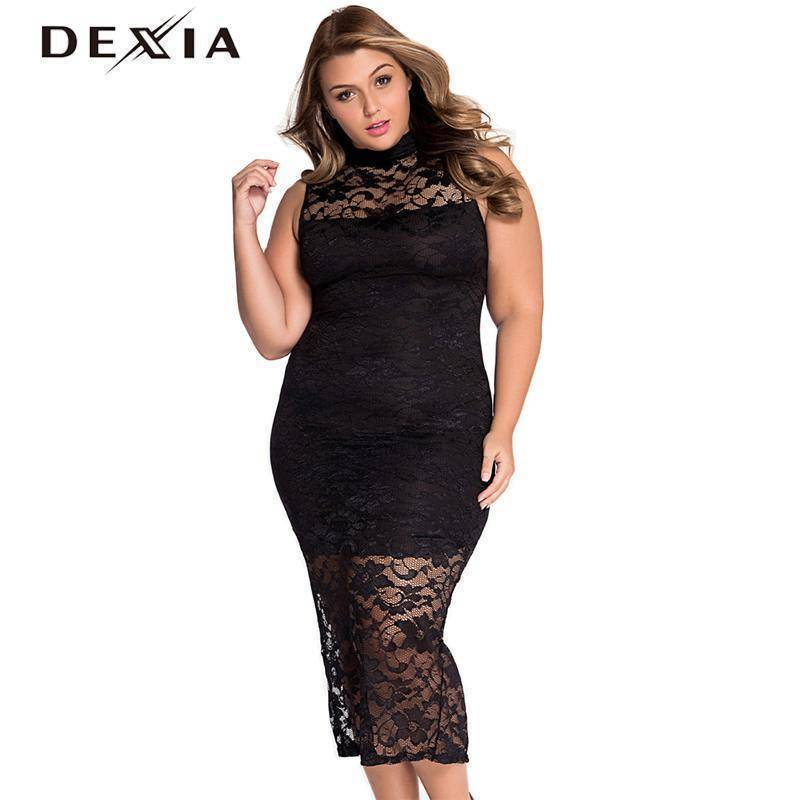 DEXIA Sexy Women Dress O Neck Pencil Vestidos Plus Size Solid Zippers Sleeveless