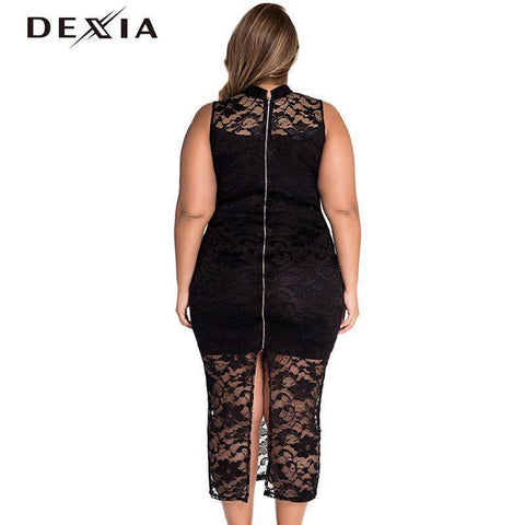 Image of DEXIA Sexy Women Dress O Neck Pencil Vestidos Plus Size Solid Zippers Sleeveless