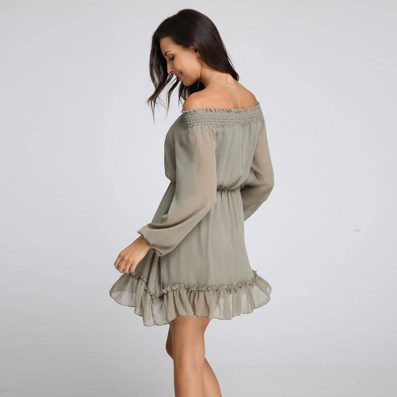 Strapless Flare Sleeve Ruffles Mini Dress