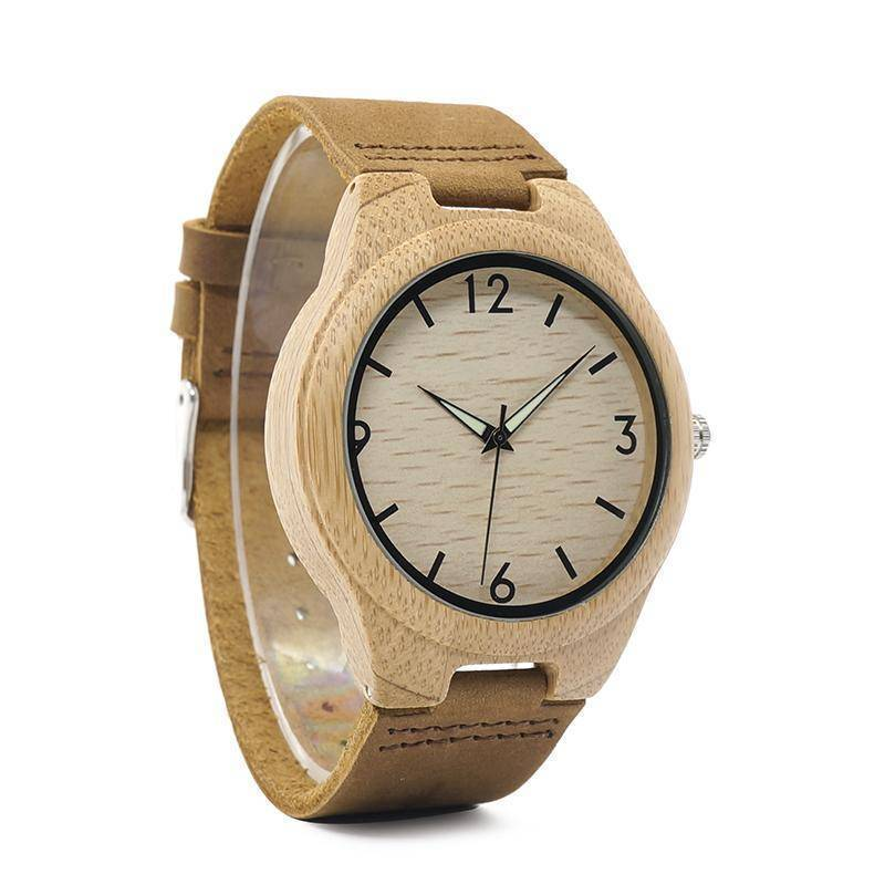 Classic Wood Wooden Bamboo Watches With Night Light Pointer