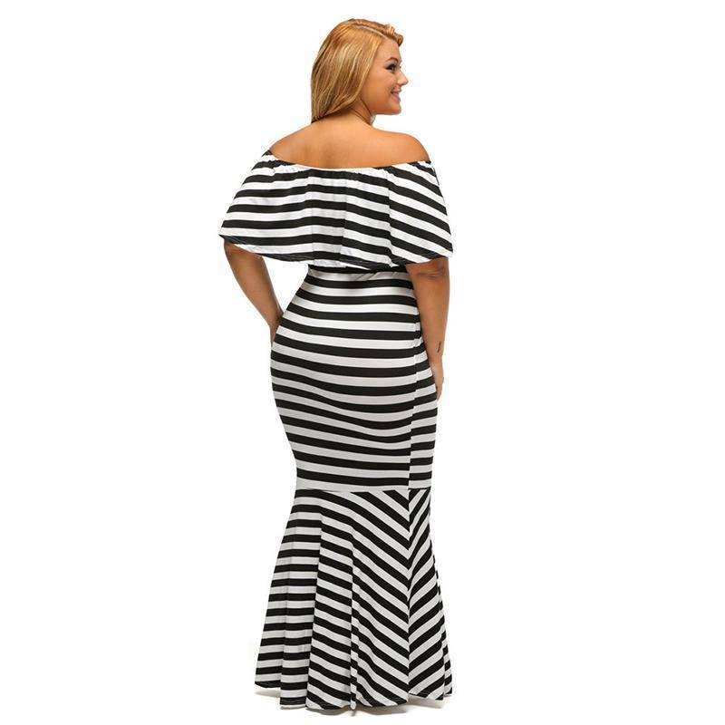Stripe Black Elegant Dress