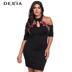 DEXIA Flower Embroidery Women Dress 2017 Summer O Neck Elegant Party Dresses
