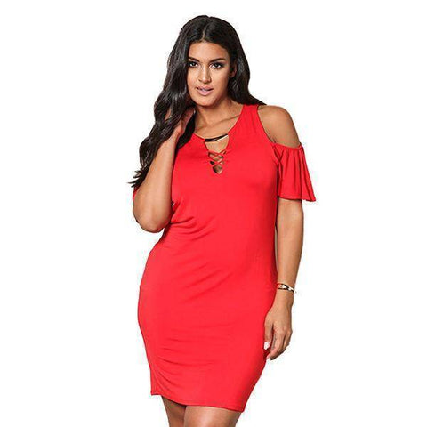 Solid Sexy Hollow Out Plus Size Dress