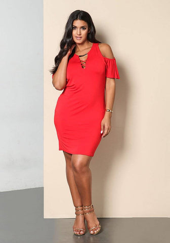 Image of Solid Sexy Hollow Out Plus Size Dress