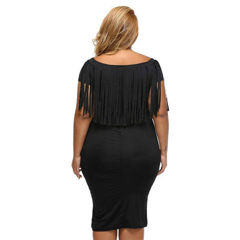 Image of Large Size Knee-Length Bodycon Dress