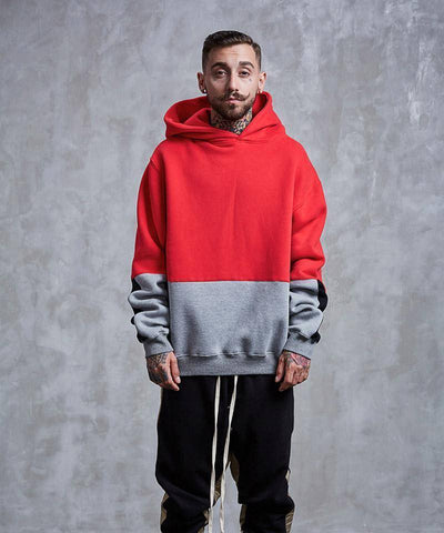 Image of Color Block Patchwork Fleece Hoodies