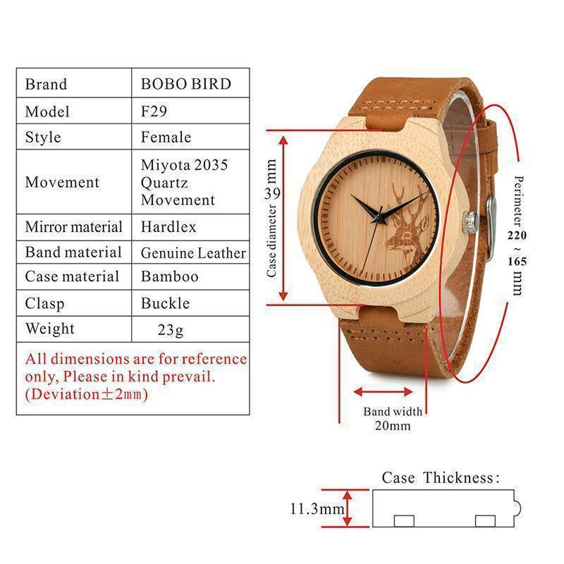 BOBO BIRD WN20 Lovers Elk Deer Head Bamboo Wooden Watch