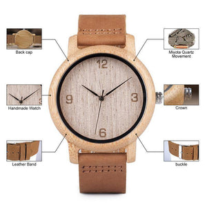 BOBO BIRD WL09 Womens Casual Antique Bamboo Wooden Watch