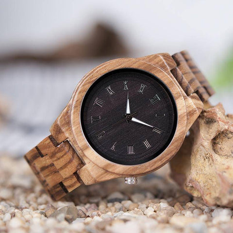 Image of BOBO BIRD WM30 Mens Watches Zebra Wooden Watch Full Wood