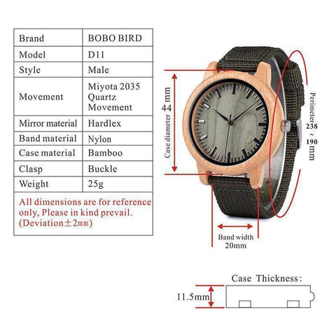 Image of BOBO BIRD WD11D12 Wood Bamboo Watch for Mens Womens