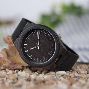 Asymmetric Design Ebony Wooden Watches with Soft Leather Band