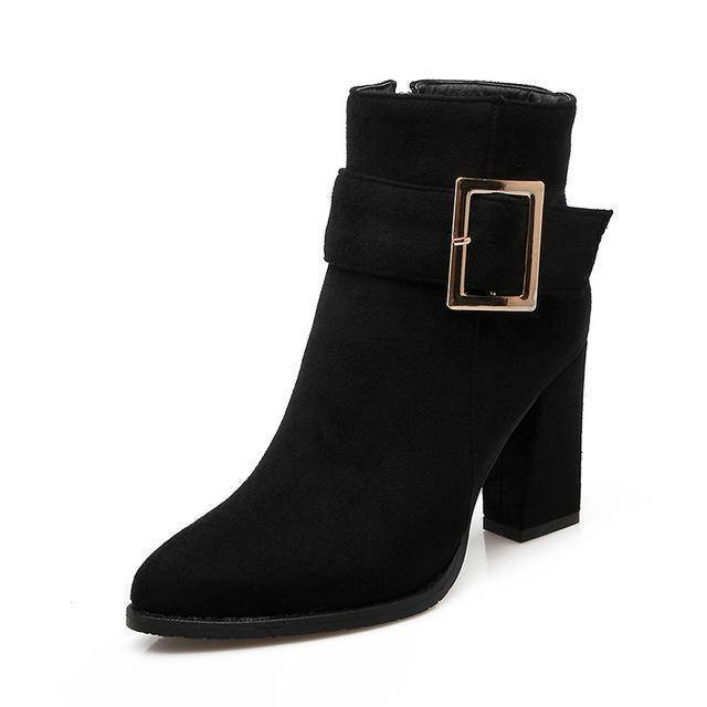 Zip Boot Flock Thick High Heels