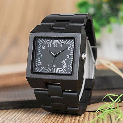 Men Rectangle Design Wood Band Watch