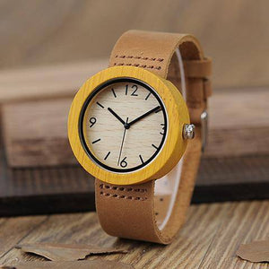 Genuine Brown Leather Strap Quartz Analog High Quality Miyota