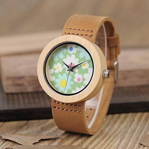 Image of Genuine Brown Leather Strap Quartz Analog High Quality Miyota