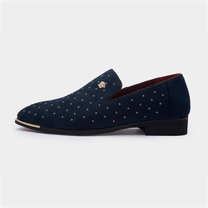 Gold Spike Navy Suede Loafers