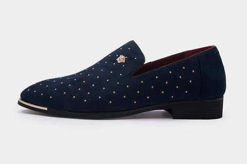 Image of Gold Spike Navy Suede Loafers