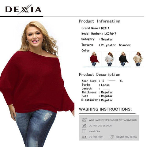 Solid Plus Size Sweater | Full Sleeve Knitted Pullover Female Elegant Christmas Sweater