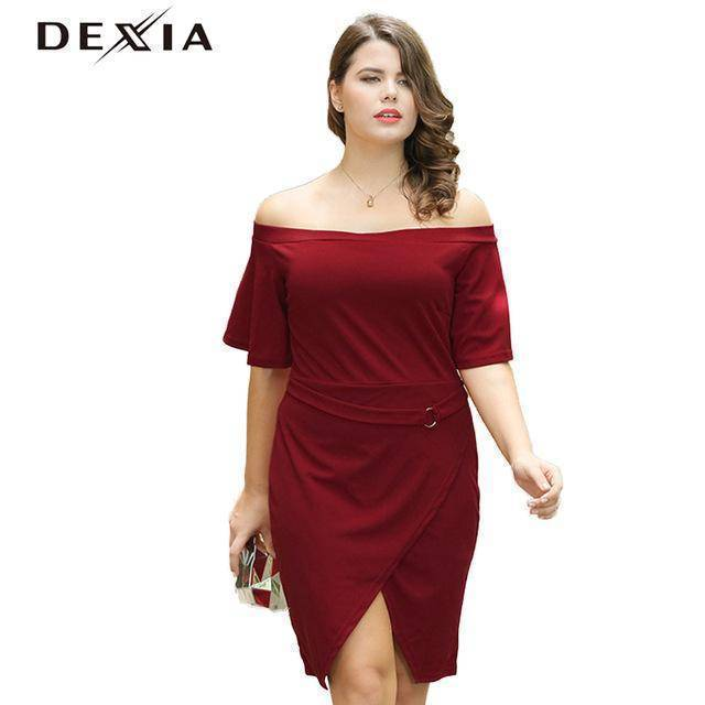 DEXIA Women Backless 2017  Loose Solid Short Sleeve Knee-Length Dresses Party Plus Size