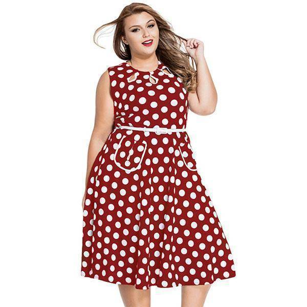 Dot Knee-Length Sleeveless Dress