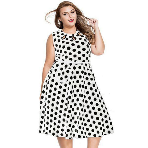 Image of Dot Knee-Length Sleeveless Dress