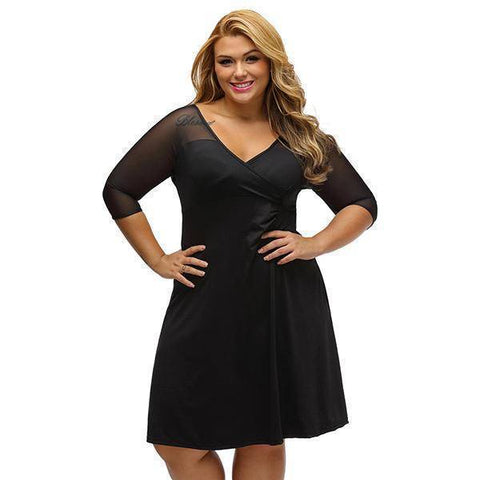 Image of V-Neck Plus Size Vestido
