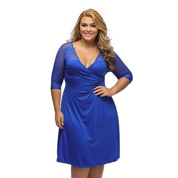 V-Neck Plus Size Vestido